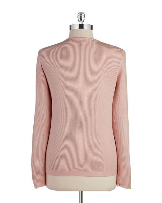 Calvin Klein | Pink V-neck Zip Up Cardigan | Lyst