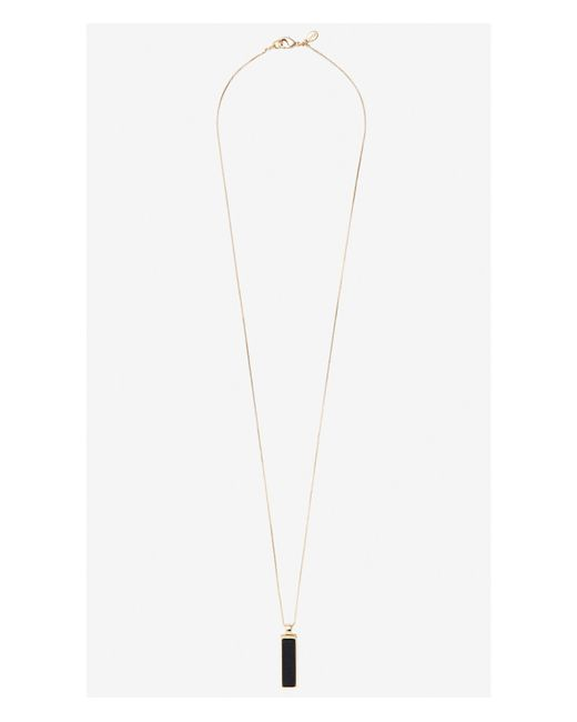 Express | Blue Reversible Rectangle Pendant Necklace | Lyst