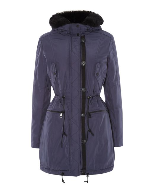 Andrew Marc | Blue Parka Style Coat With Faux Fur Lining | Lyst