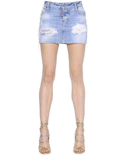 dsquared 178 california destroyed denim skirt in blue save