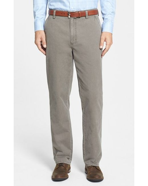 Cutter & Buck | Brown 'curtis' Flat Front Five-pocket Cotton Twill Pants for Men | Lyst
