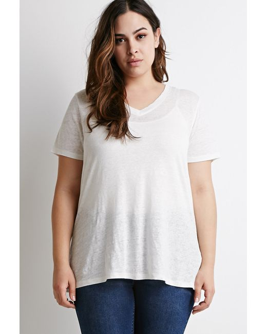 Forever 21 | White Plus Size Classic V-neck Tee | Lyst
