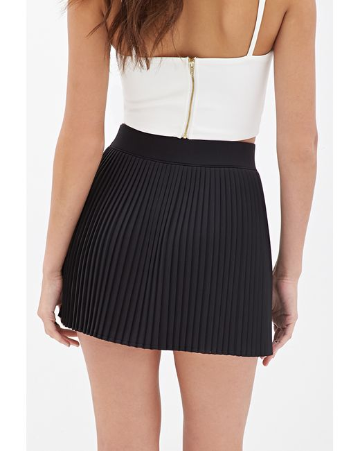 forever 21 accordion pleated skirt in black lyst