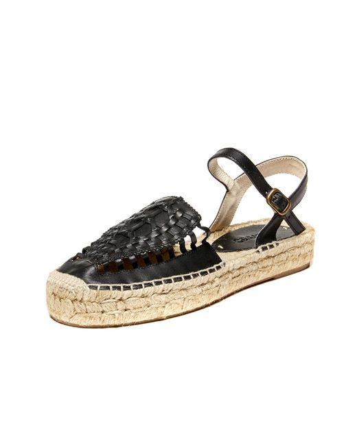 Soludos | Black Leather Platform Huarache Sandal | Lyst