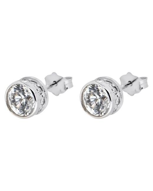 Ib&b | Metallic 9ct White Gold Medium Cubic Zirconia Stud Earrings | Lyst