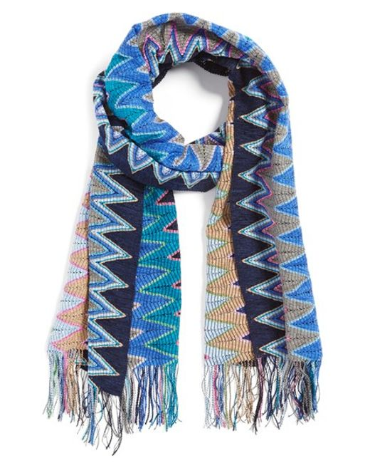 Missoni | Blue Check Rib Scarf | Lyst