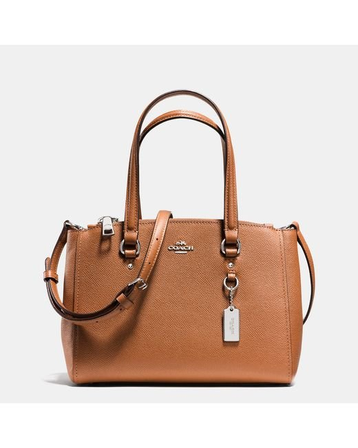 COACH | Brown Primrose Satchel In Pebble Leather | Lyst