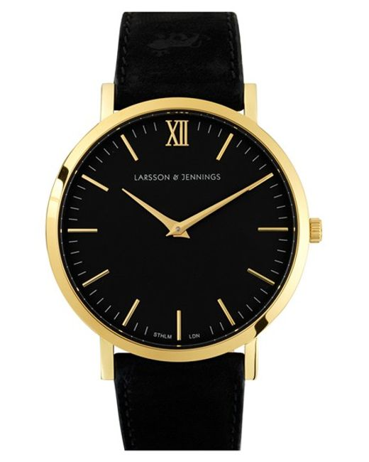 Larsson & Jennings   Black 'lugano' Leather Strap Watch   Lyst