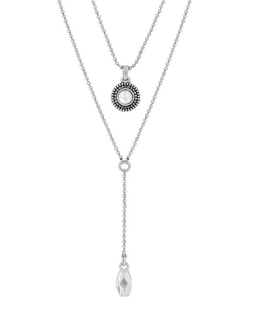 Lucky Brand | Metallic Freshwater Pearl Double Necklace | Lyst