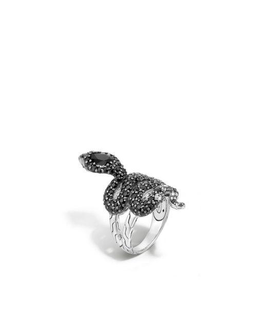 John Hardy   Metallic Cobra Ring With Black Chalcedony And Diamonds   Lyst
