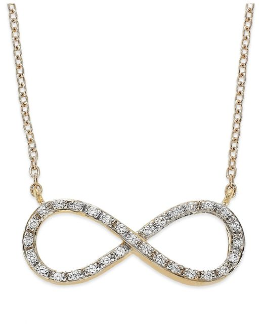 Macy's | Metallic Yelloratm Diamond Infinity Pendant Necklace In Yelloratm (1/6 Ct. T.w.) | Lyst