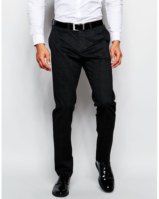 Benetton Check Suit Trousers In Slim Fit In Grey in Black for Men