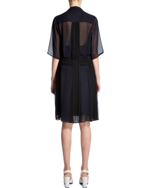 Nicole Farhi | Black Plisse Pleat Dress | Lyst