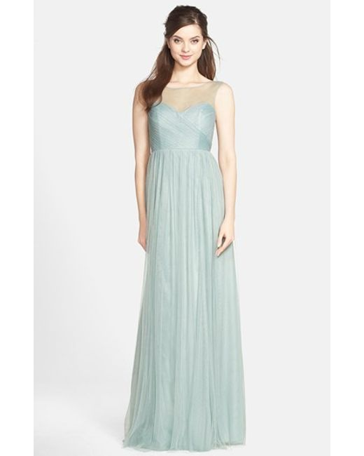 Jenny Yoo | Blue 'aria' Illusion Yoke Pleated Tulle Gown | Lyst