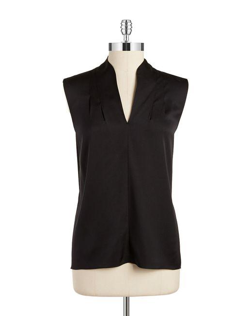 Elie Tahari | Black Pleated Silk Blend Blouse | Lyst