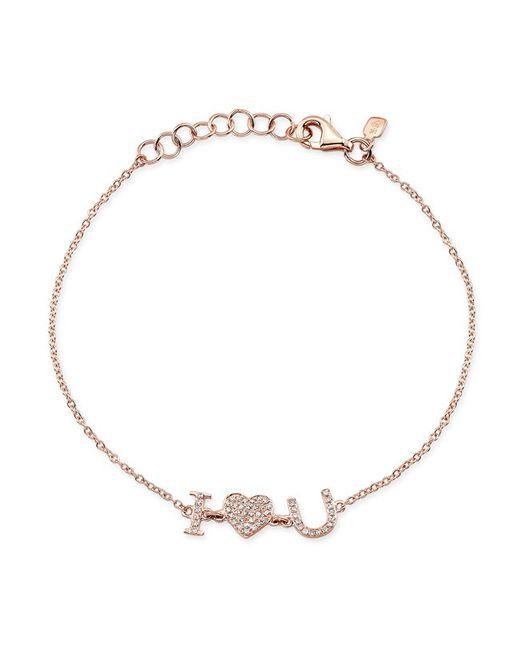 Anne Sisteron - Metallic 14kt Rose Gold Diamond I - Heart - U Bracelet - Lyst