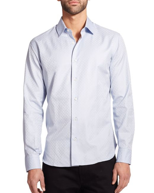 Ferragamo | Blue Tonal Gancini Sportshirt for Men | Lyst