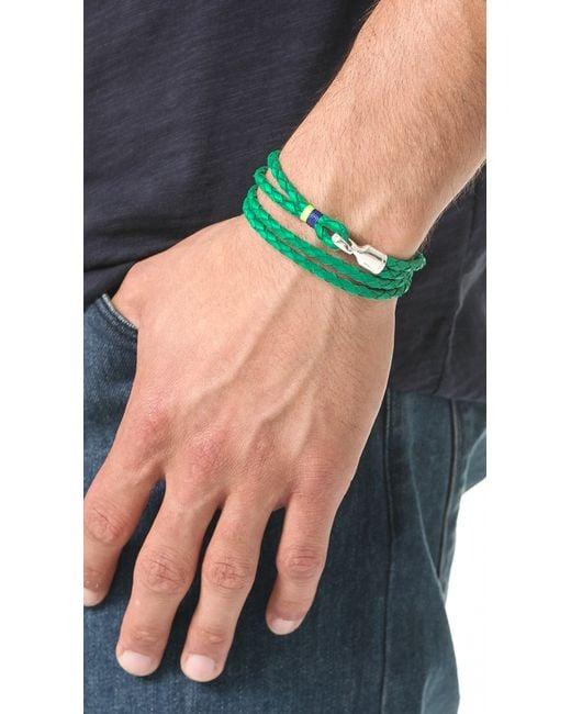 Miansai | Green Trice Woven Leather Wrap Bracelet for Men | Lyst