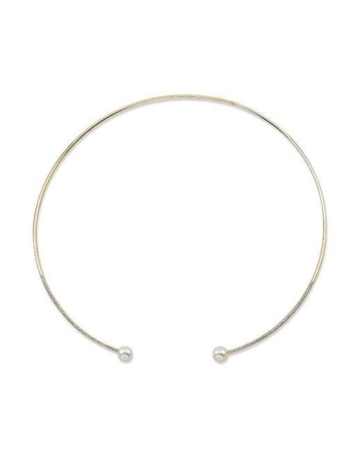 Anne Sisteron | Metallic 14kt Yellow Gold Diamond And Pearl Choker Necklace | Lyst