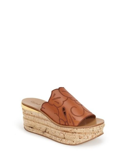 Chloé Camille Wedge Mules in Cognac Brown | THE YES