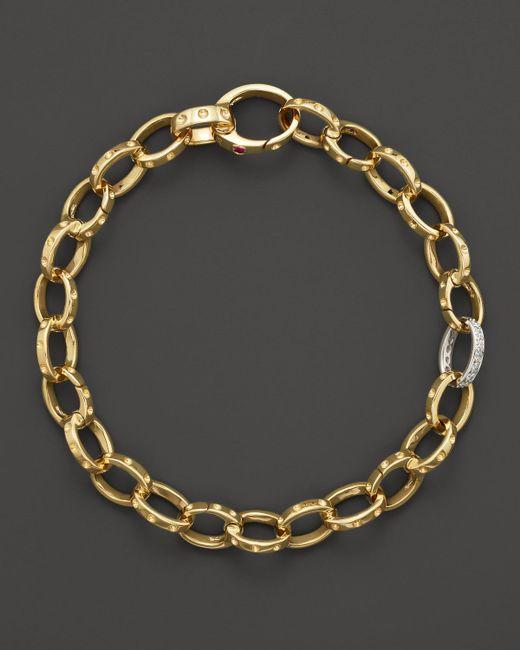 Roberto Coin | Metallic 18k Yellow Gold Pois Moi Diamond Chain Bracelet | Lyst