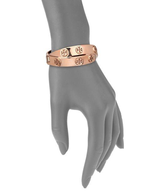 Tory Burch | Pink Studded Double-wrap Logo Bracelet/rose Goldtone | Lyst