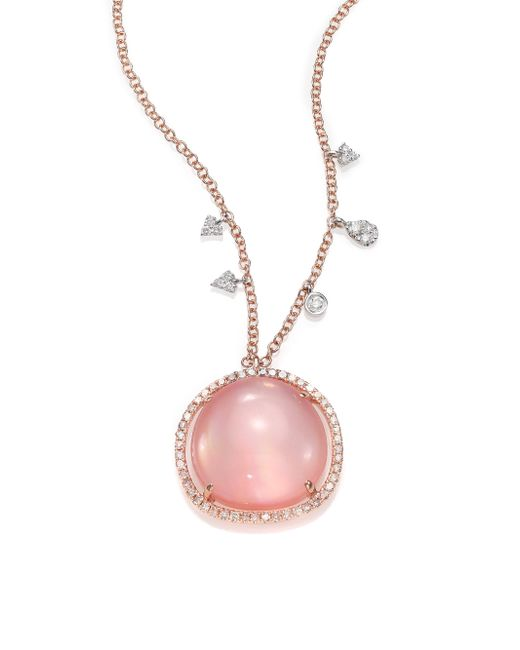 Meira T | Pink Rose Quartz, Mother-of-pearl, Diamond & 14k Rose Gold Pendant Necklace | Lyst