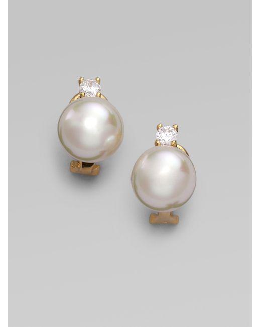 Majorica | 12mm White Pearl Earrings | Lyst
