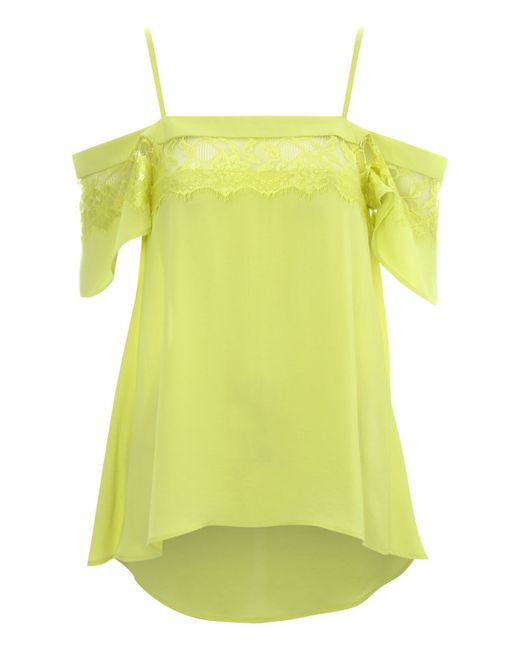 Jane Norman | Green Lace Panel Off The Shoulder L Top | Lyst