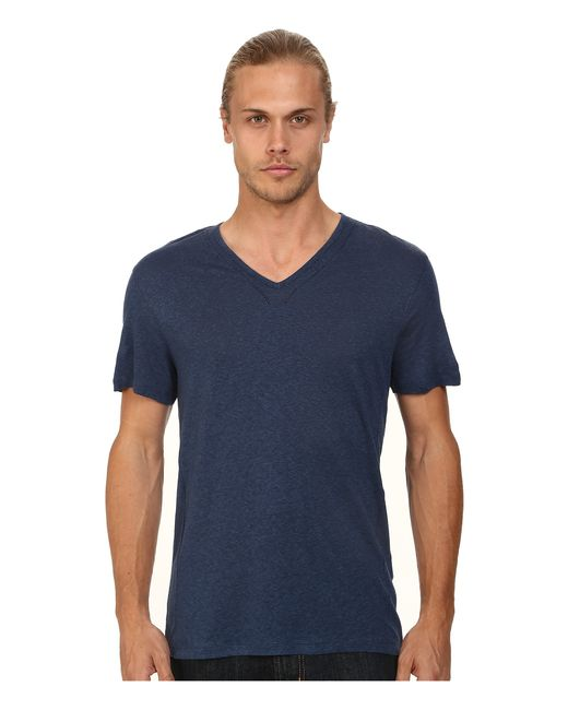 John Varvatos | Blue Short Sleeve Knit V-neck With Pintuck Seam Details for Men | Lyst