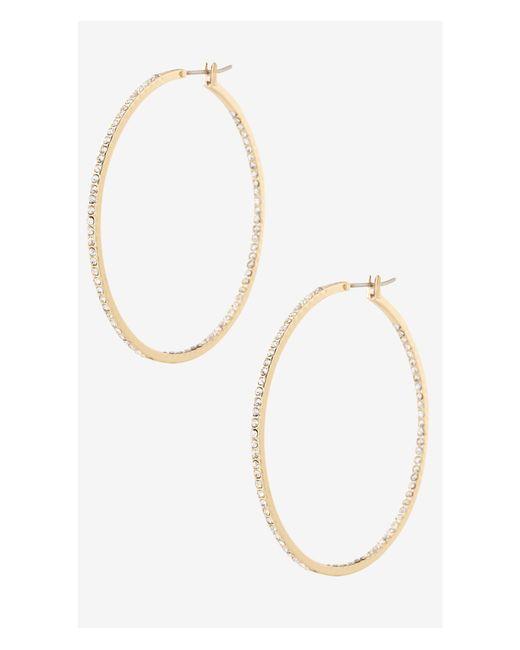 Express | Metallic Pave Hoop Earrings | Lyst