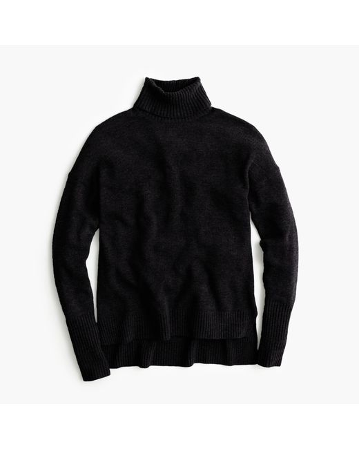 J.Crew | Black Relaxed Wool Turtleneck Sweater With Rib Trim | Lyst
