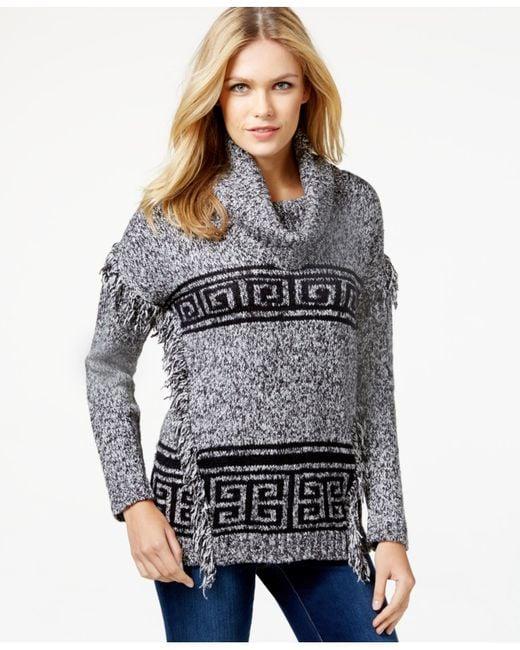 Kensie | Black Fringed Cowl-neck Sweater | Lyst