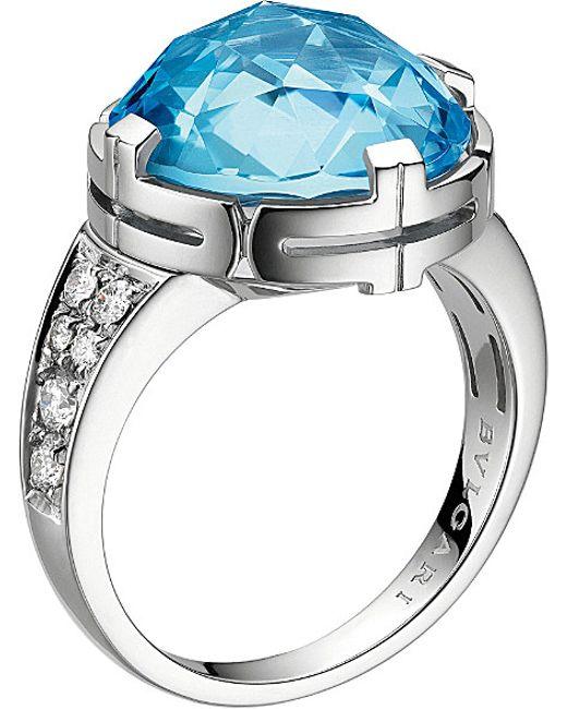 BVLGARI | Blue Parentesi 18kt White-gold, Topaz And Pavé-diamond Cocktail Ring | Lyst