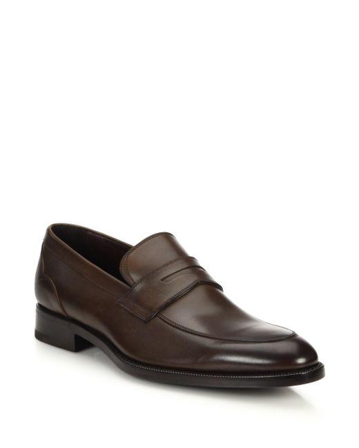 Ermenegildo Zegna | Brown Leather Penny Loafers for Men | Lyst
