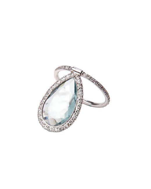 Nina Runsdorf | Metallic Aquamarine Pear Shape With Pavã© Diamonds Flip Ring | Lyst
