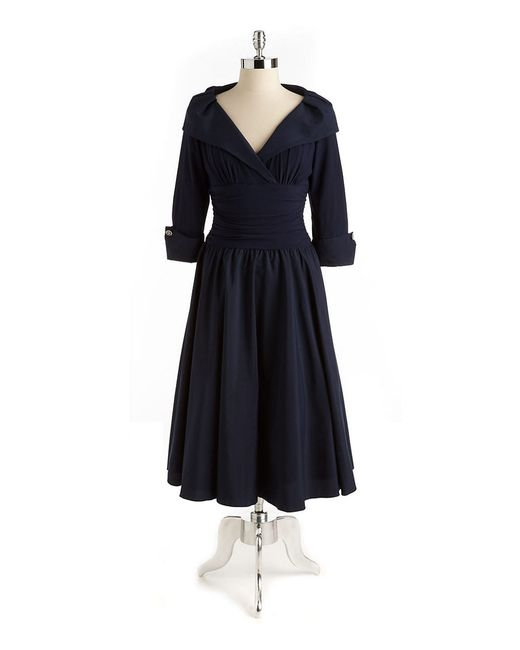 Eliza J | Blue Elbow Sleeve Cross Front Dress | Lyst