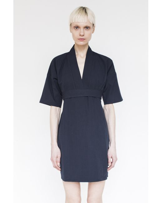assembly new york cotton karate dress navy in blue lyst