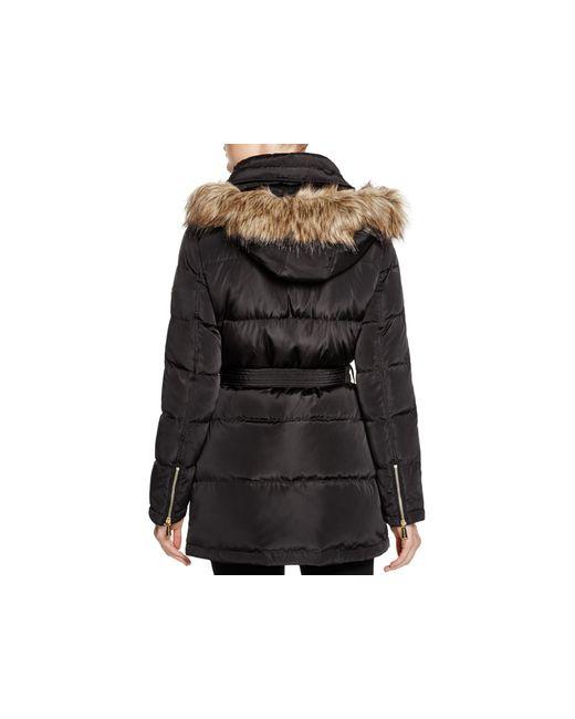MICHAEL Michael Kors | Black Faux Fur Trim Coat | Lyst