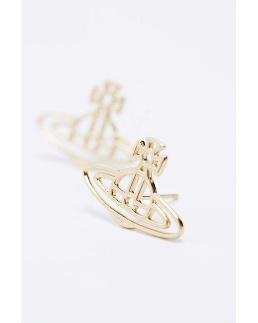 Vivienne Westwood | Metallic Thin Lines Flat Orb Stud Earrings | Lyst