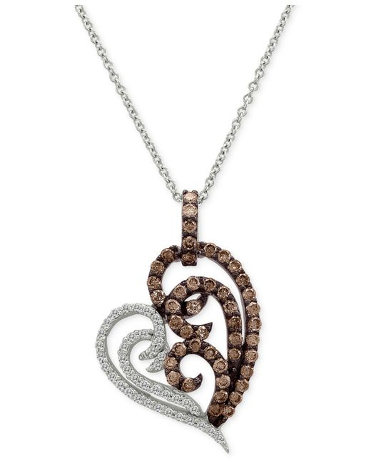Le Vian | Metallic Chocolatier Diamond Heart Pendant Necklace (3/4 Ct. T.w.) In 14k White Gold | Lyst