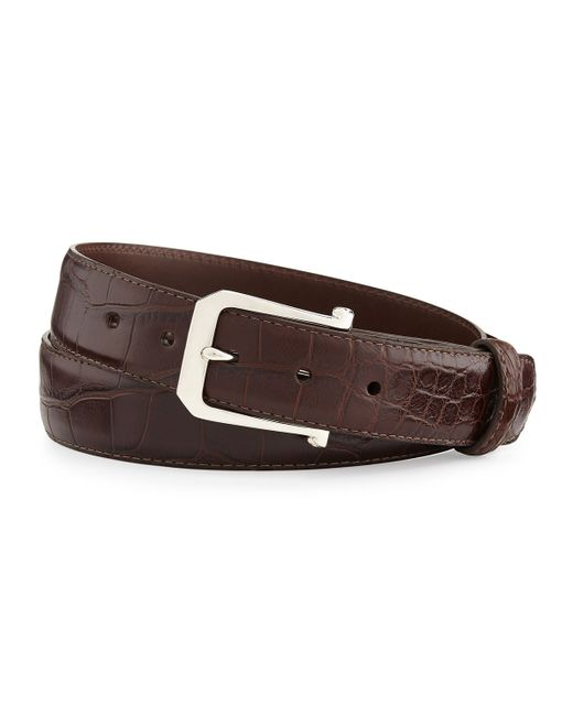 "W. Kleinberg | Brown Matte Alligator Belt With ""the Paisley"" Buckle for Men 