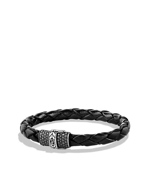 David Yurman | Chevron Narrow Woven Leather Bracelet With Black Diamonds In Black for Men | Lyst