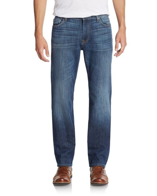 7 For All Mankind   Blue Standard Straight-leg Jeans for Men   Lyst