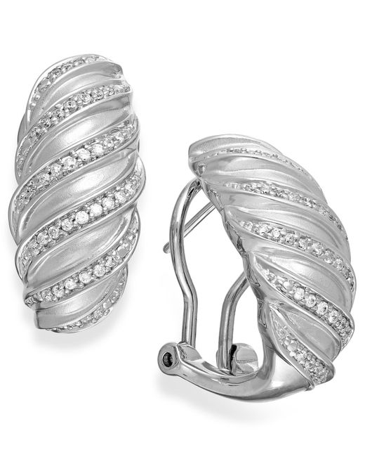 Macy's | Metallic Diamond Swirl Hoop Earrings In Sterling Silver (1/4 Ct. T.w.) | Lyst