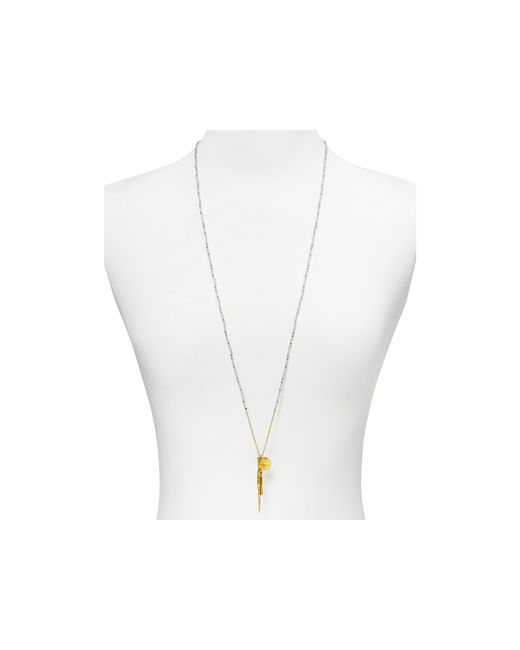Chan Luu | Yellow Beaded Pendant Necklace, 34"
