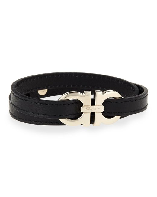 Ferragamo | Black Men's Gancini Leather Wrap Bracelet for Men | Lyst