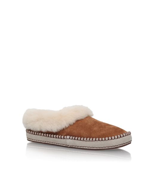Ugg Wrin Flat Fur Lined Slippers In Brown Lyst