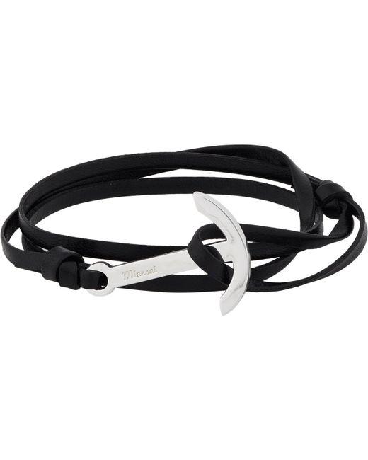 Miansai | Black Modern Anchor On Leather Wrap Bracelet | Lyst