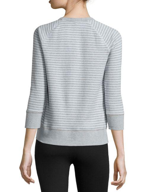 James Perse | Blue Striped Raglan Sweatshirt | Lyst